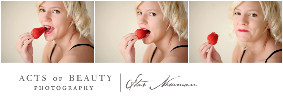 Blonde Pinup Model Eating Strawberrie