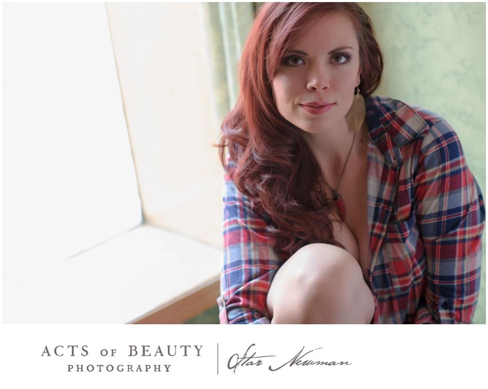 Plaid redhead boudoir