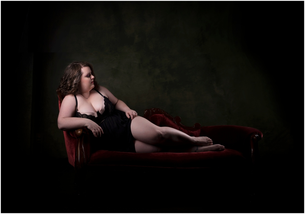 Plus size boudoir pose