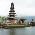 Photo of beautiful temple by the water in Bali